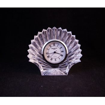 "Vintage Waterford Crystal cut glass shell shaped clock with an old stamp. Measures 3""H"