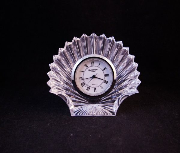 """Vintage Waterford Crystal cut glass shell shaped clock with an old stamp. Measures 3""""H"""