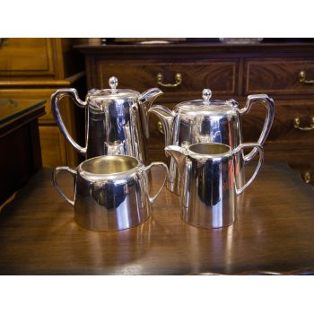 Hotelware silver plated four piece tea and coffee set. Includes tea pot, coffee pot, sugar bowl and milk jug