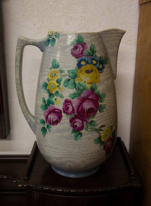 """Large Shelley china """"Tapestry"""" painted jug. Measures 13""""H x 9.5""""W"""