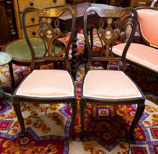 inlaid mahogany occasional chairs