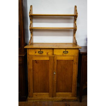"Antique pine two door, two drawer cabinet with back plate rack. Measures 39""L x 19""D x 73""H"