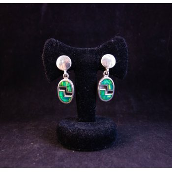Pair of Mexican silver and green fire opal oval drop earrings