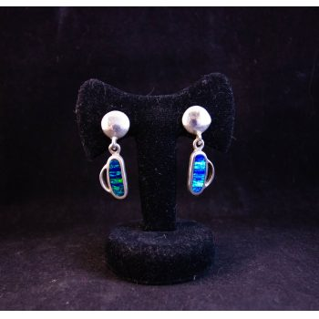 Pair of Mexican silver and blue fire opal oblong drop earrings