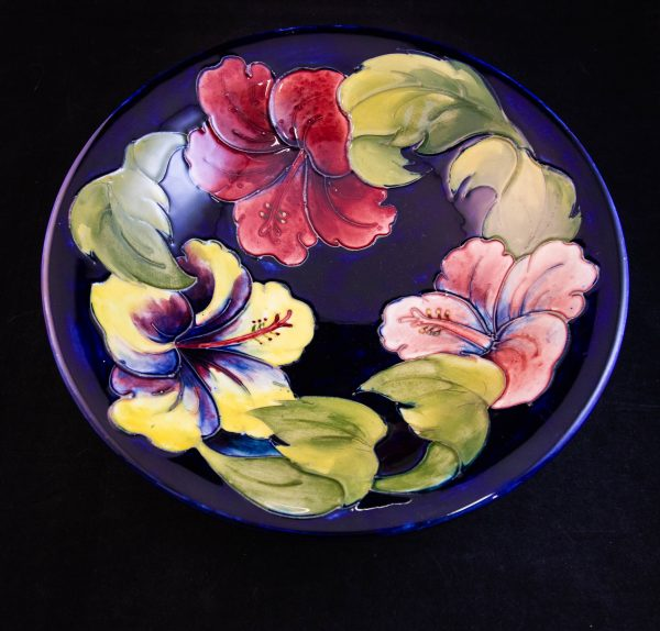 """Moorcroft pottery orchid dish. Measures 10""""W"""