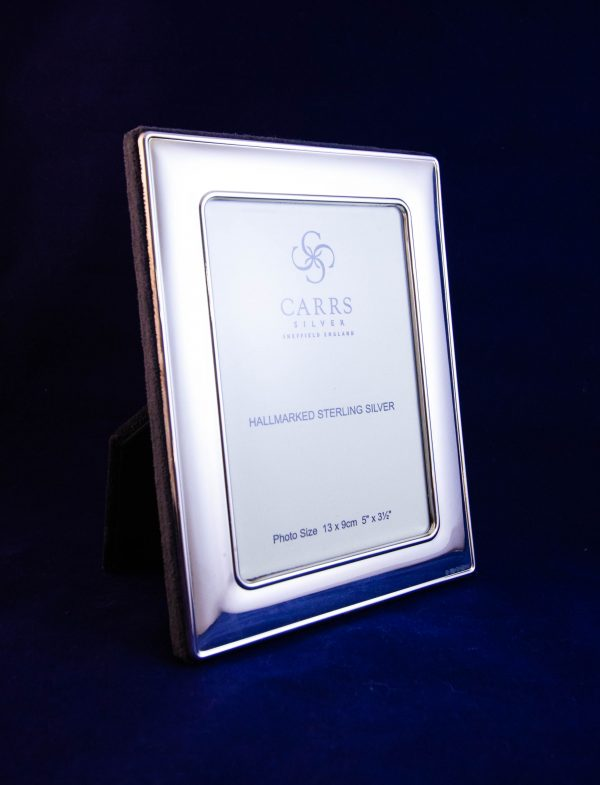 """Silver photo frame with velvet back. Photo size 3.5""""W x 5""""H, total size 5""""W x 6.5""""H"""