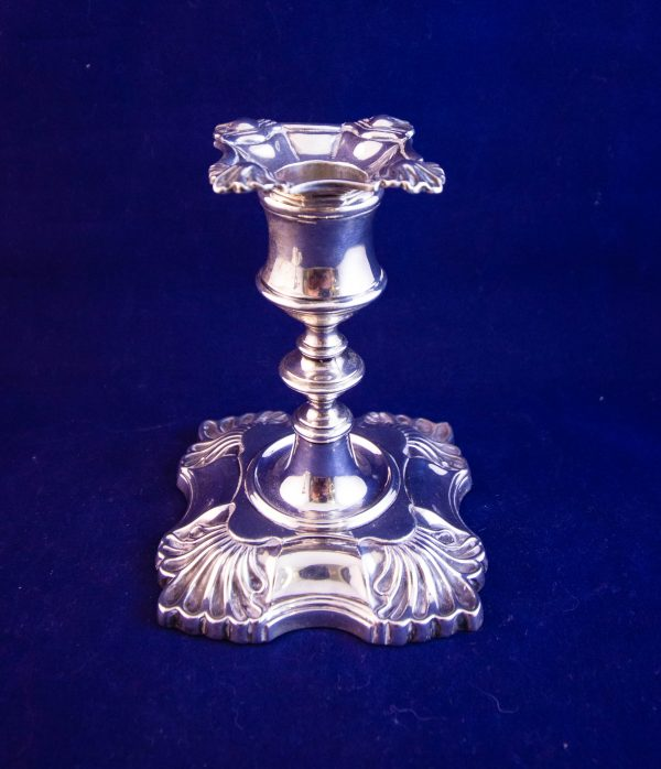 """Pair of antique silver candlesticks. Measure 4.5""""H, stamped Sheffield 1907"""