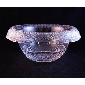 """Waterford Crystal cut glass rollover turnover salad or fruit bowl. Measures 9""""W x 4.5""""H"""