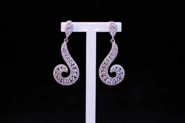 18k white gold and pave diamond drop earrings. Total diamond 2.56ct. Price includes nationwide delivery