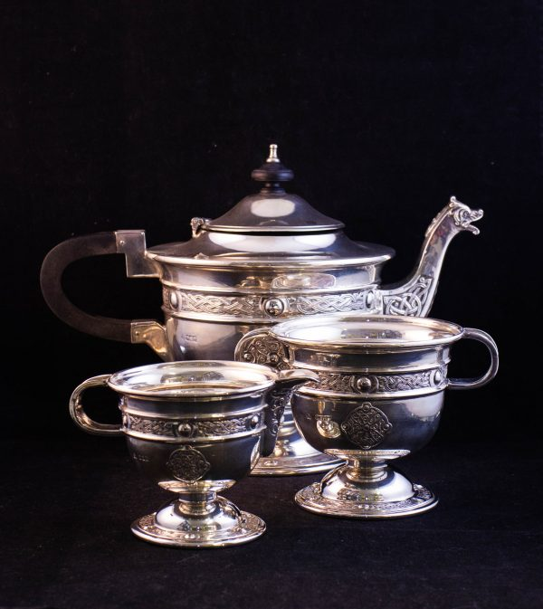 Irish silver tea set, including a teapot, milk jug and sugar bowl. Stamped Dublin 1959 by Alright and Marshal and weighs 1097g. Price includes nationwide delivery