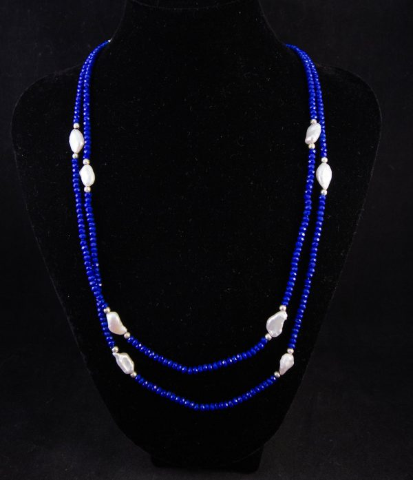 lapis pearl necklace