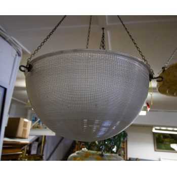 "Large holophane glass light shade. Measures 15""W x 8""D"