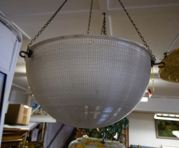 """Large holophane glass light shade. Measures 15""""W x 8""""D"""