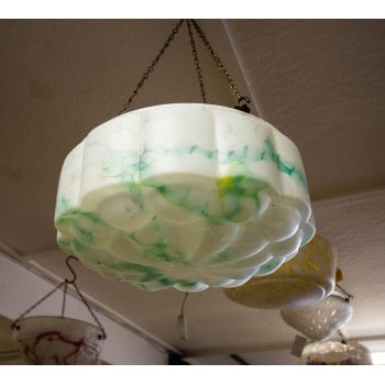 """Mottled green and white glass light shade. Measures 12""""W x 6""""H"""
