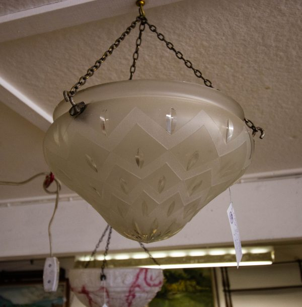 "Cut glass light shade. Measures 11""W x 7""H"