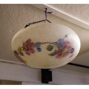 """Painted floral and mottled glass light shade. Measures 15""""W x 8""""H"""