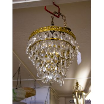 """Vintage French tiered brass bag chandelier. Measures 12""""H (and additional 10"""" hanging chain) x 10""""W"""