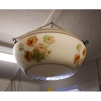 """Painted floral glass light shade. Measures 16""""W x 7""""H"""