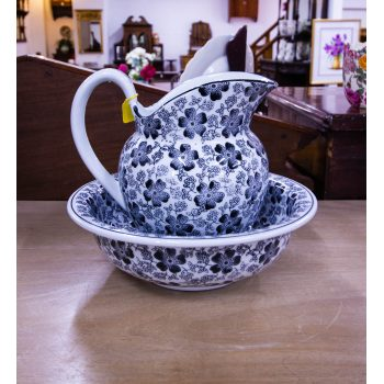 """Black and white floral jug and bowl. Bowl measures 12.25""""W x 4""""H, jug measures 10""""L x 7""""W x 9.5""""H"""