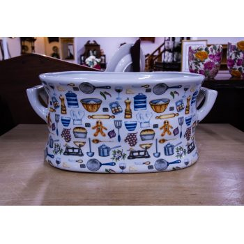 "Large cooking themed foot bath or planter. Measures 19""L x 13.5""W x 8.25""H"