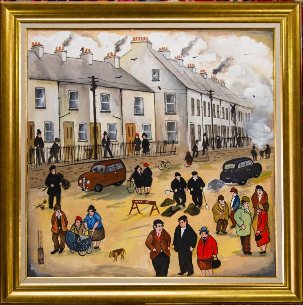 """John Schwatschke """"Thursday, Half Day. Waterford Street"""" oil painting on canvas. Painting measures 60 x 60cm"""