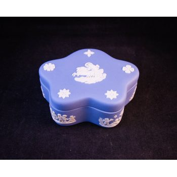 """Wedgwood blue trinket box (stamp faded). Measures 4""""L x 1.5""""H. Price includes nationwide delivery"""
