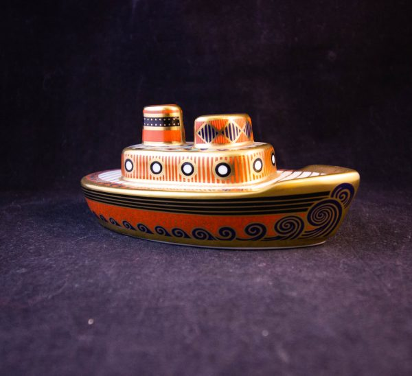 "Royal Crown Derby Treasures of Childhood tug boat ornament in box. Measures 4.75""L x 2""H Price includes nationwide delivery"