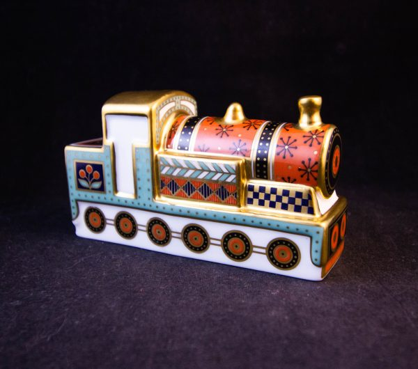 """Royal Crown Derby Treasures of Childhood steam train ornament in box. Measures 4""""L x 2.25""""H Price includes nationwide delivery"""