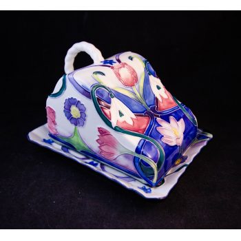 "Old Tuptonware hand painted cheese dish. Measures 6""L x 4.75""W x 4""H. Price includes nationwide delivery"
