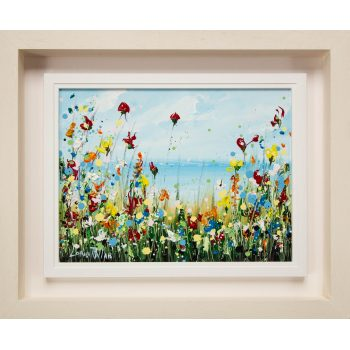 "Lorna Millar ""Wildflowers"" oil painting on board. Frame measures 58L x 48H in cm, painting measures 39L x 29H. Price includes nationwide delivery."