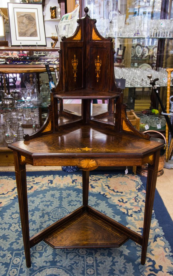inlaid rosewood corner table