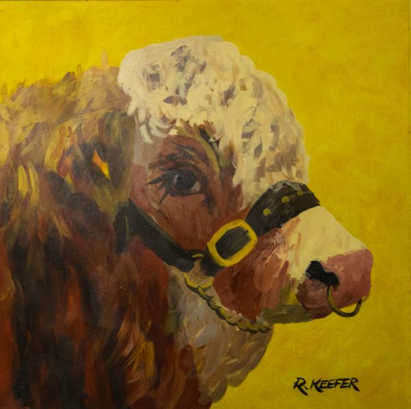 ronald keefer prize bull oil on board painting