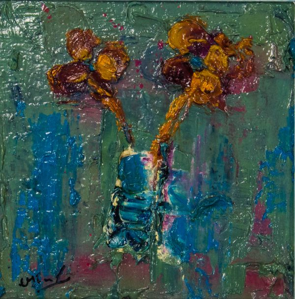 colin flack orange flowers oil acrylic painting on board
