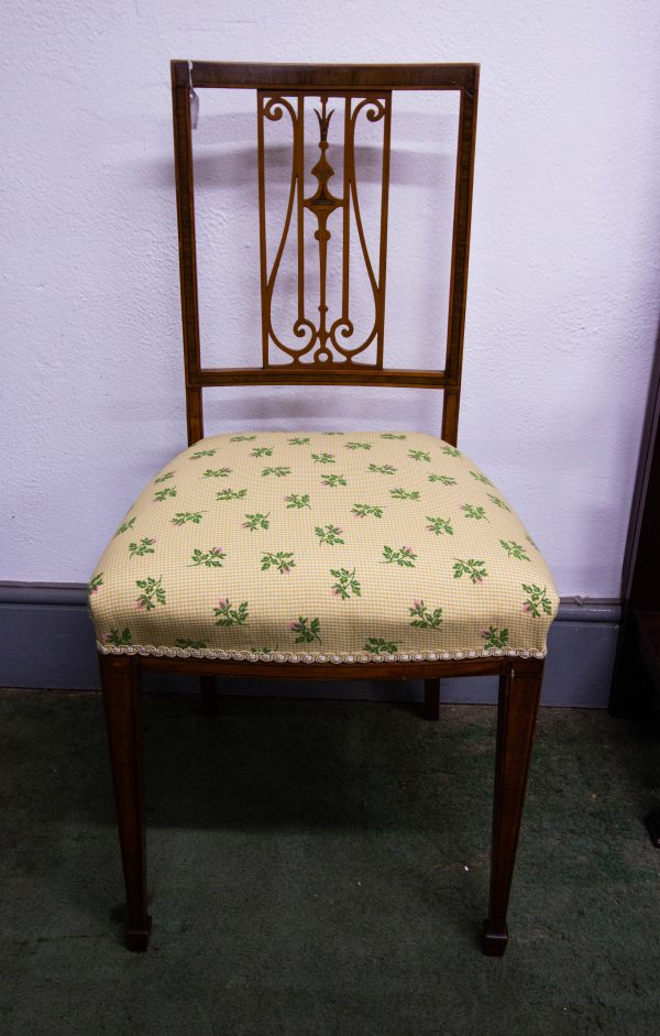 Pair of Edwardian inlaid mahogany occasional or bedroom chairs. Measure 44L x 40D x 89H back in cm. Price includes nationwide delivery.