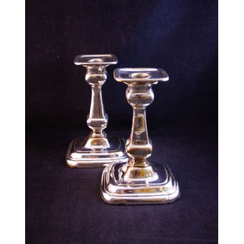 Pair of early Sheffield silver plated candlesticks. Measures 16cm high x 10cm wide base. Price includes nationwide delivery
