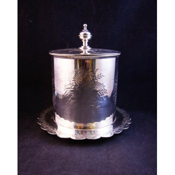 Silver plated marmalade pot with removable insert and fern design. Measures 14cm wide x 15cm high. Price includes nationwide delivery